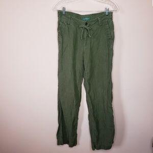 Lauren Ralph Lauren army green linen pants 4